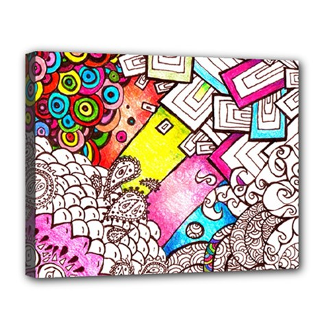 Beautiful Colorful Doodle Canvas 14  X 11  by Nexatart