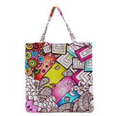 Beautiful Colorful Doodle Grocery Tote Bag by Nexatart
