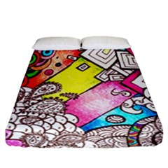 Beautiful Colorful Doodle Fitted Sheet (california King Size)