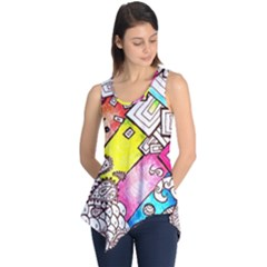 Beautiful Colorful Doodle Sleeveless Tunic