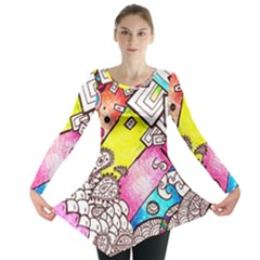 Beautiful Colorful Doodle Long Sleeve Tunic