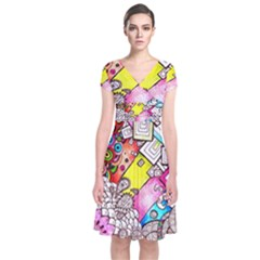 Beautiful Colorful Doodle Short Sleeve Front Wrap Dress