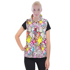 Beautiful Colorful Doodle Women s Button Up Puffer Vest