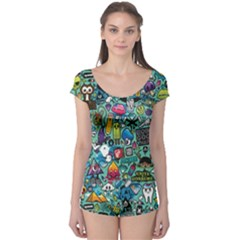 Colorful Drawings Pattern Boyleg Leotard