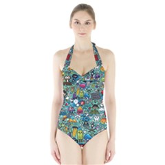 Colorful Drawings Pattern Halter Swimsuit