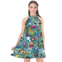Colorful Drawings Pattern Halter Neckline Chiffon Dress