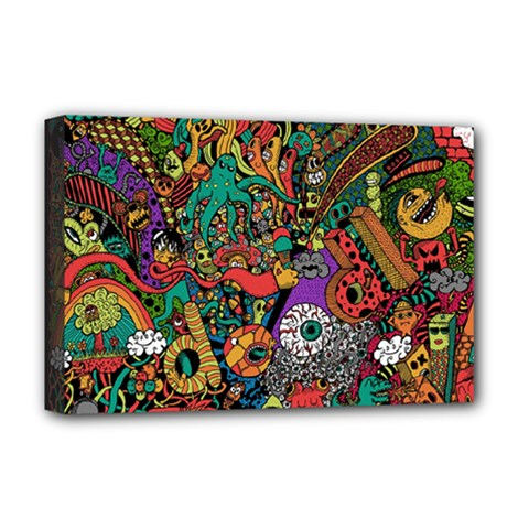 Monsters Colorful Doodle Deluxe Canvas 18  X 12   by Nexatart