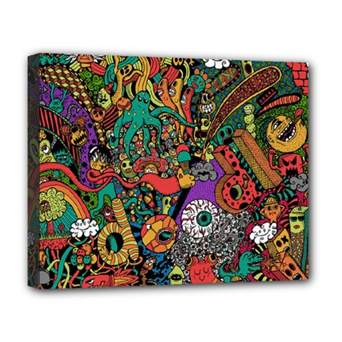 Monsters Colorful Doodle Deluxe Canvas 20  X 16   by Nexatart