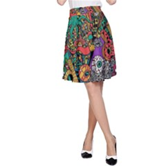 Monsters Colorful Doodle A Line Skirt