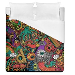 Monsters Colorful Doodle Duvet Cover (queen Size) by Nexatart