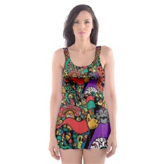 Monsters Colorful Doodle Skater Dress Swimsuit