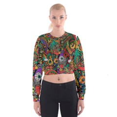 Monsters Colorful Doodle Cropped Sweatshirt