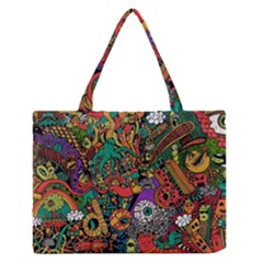 Monsters Colorful Doodle Medium Zipper Tote Bag by Nexatart