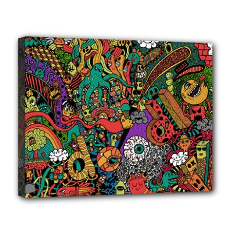 Monsters Colorful Doodle Canvas 14  X 11