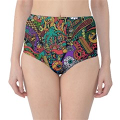 Monsters Colorful Doodle High Waist Bikini Bottoms