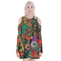 Monsters Colorful Doodle Velvet Long Sleeve Shoulder Cutout Dress by Nexatart