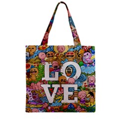 Doodle Art Love Doodles Zipper Grocery Tote Bag by Nexatart