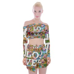 Doodle Art Love Doodles Off Shoulder Top With Skirt Set