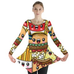 Cute Food Wallpaper Picture Long Sleeve Tunic  by Nexatart
