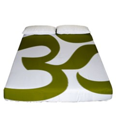 Hindi Om Symbol (olive) Fitted Sheet (california King Size) by abbeyz71
