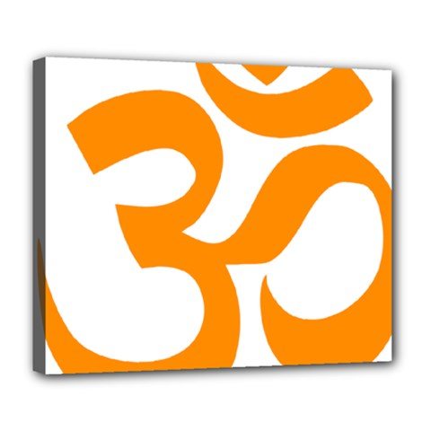 Hindu Om Symbol (orange) Deluxe Canvas 24  X 20   by abbeyz71