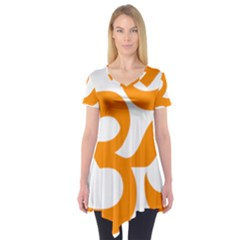 Hindu Om Symbol (orange) Short Sleeve Tunic