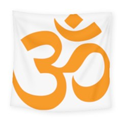 Hindu Om Symbol (orange) Square Tapestry (large) by abbeyz71
