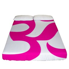 Hindu Om Symbol (pink) Fitted Sheet (queen Size) by abbeyz71