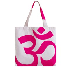 Hindu Om Symbol (deep Pink) Zipper Grocery Tote Bag by abbeyz71