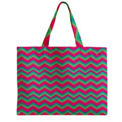 Retro Pattern Zig Zag Zipper Mini Tote Bag by Nexatart