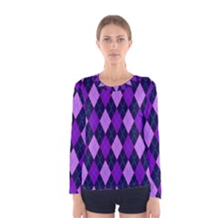 Static Argyle Pattern Blue Purple Women s Long Sleeve Tee by Nexatart