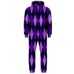 Static Argyle Pattern Blue Purple Hooded Jumpsuit (men)