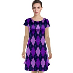 Static Argyle Pattern Blue Purple Cap Sleeve Nightdress