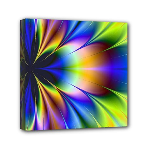 Bright Flower Fractal Star Floral Rainbow Mini Canvas 6  X 6  by Mariart
