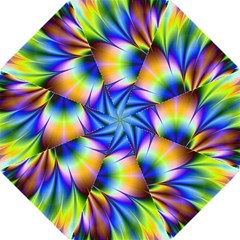 Bright Flower Fractal Star Floral Rainbow Straight Umbrellas by Mariart