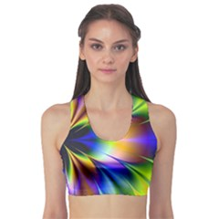 Bright Flower Fractal Star Floral Rainbow Sports Bra by Mariart