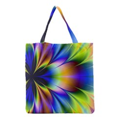 Bright Flower Fractal Star Floral Rainbow Grocery Tote Bag by Mariart