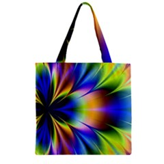 Bright Flower Fractal Star Floral Rainbow Zipper Grocery Tote Bag by Mariart