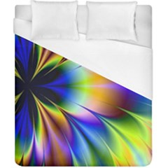 Bright Flower Fractal Star Floral Rainbow Duvet Cover (california King Size) by Mariart
