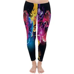 Abstract Patterns Lines Colors Flowers Floral Butterfly Classic Winter Leggings by Mariart
