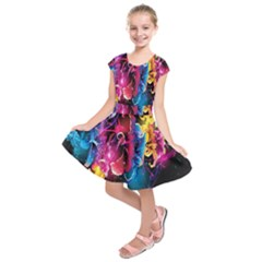 Abstract Patterns Lines Colors Flowers Floral Butterfly Kids  Short Sleeve Dress by Mariart