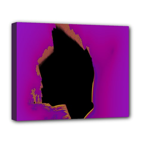 Buffalo Fractal Black Purple Space Deluxe Canvas 20  X 16   by Mariart