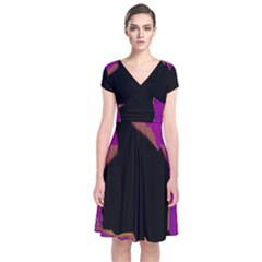 Buffalo Fractal Black Purple Space Short Sleeve Front Wrap Dress