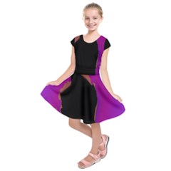 Buffalo Fractal Black Purple Space Kids  Short Sleeve Dress by Mariart