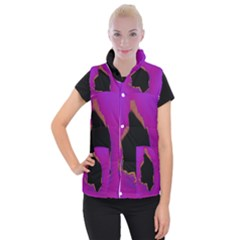 Buffalo Fractal Black Purple Space Women s Button Up Puffer Vest by Mariart