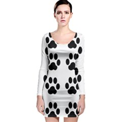 Claw Black Foot Chat Paw Animals Long Sleeve Bodycon Dress by Mariart