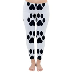 Claw Black Foot Chat Paw Animals Classic Winter Leggings by Mariart