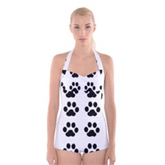 Claw Black Foot Chat Paw Animals Boyleg Halter Swimsuit  by Mariart