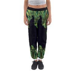 Burning Ship Fractal Silver Green Hole Black Women s Jogger Sweatpants by Mariart