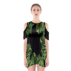 Burning Ship Fractal Silver Green Hole Black Shoulder Cutout One Piece